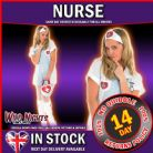 FANCY DRESS COSTUME ~ LADIES ZIP UP NURSE DRESS WITH BAG LG 16-18